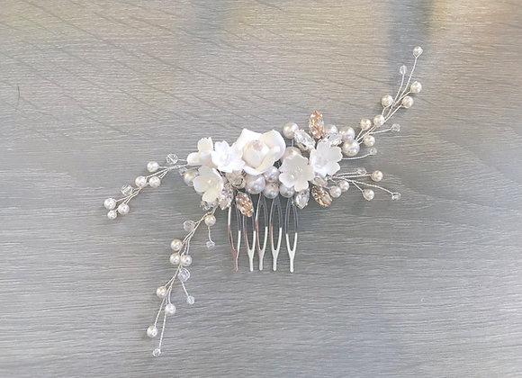 KENNA: Pearl Floral Comb