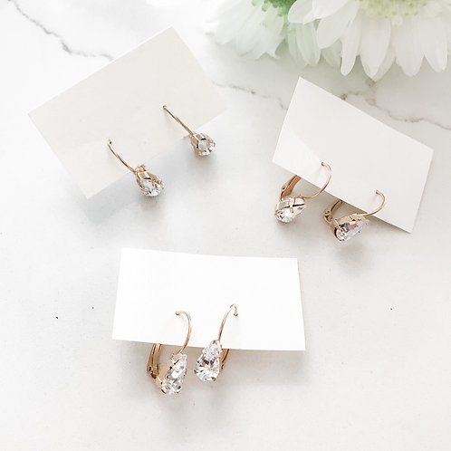 SHAY: Crystal Pear Leverback Earrings