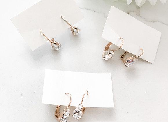 SHAY: Crystal Pear Leverback Earrings