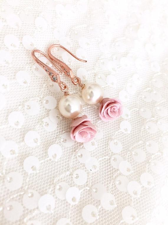 Pink Flower Bud Earrings