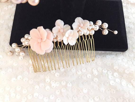 Blush Floral Bridal Comb