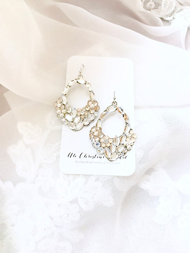 FAYE: Champagne Floral Hoop Earrings
