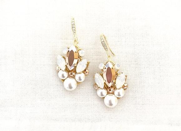 CARLY: Rose Gold & Opal Rhinestone Earrings