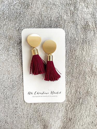 AT HEART: Red Tassel Statement Earrings