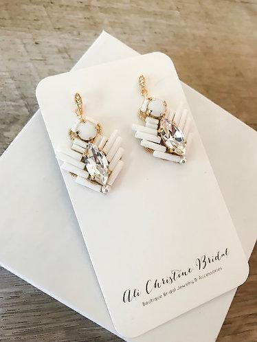 EVIE: White Beaded Swarovski Earrings