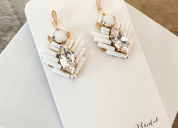 EVIE: White Beaded Swarovski Earrings