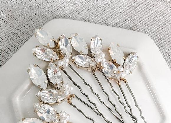 EMERSON PINS: Rhinestone & Pearl Hair Pins (set of 6 pins)