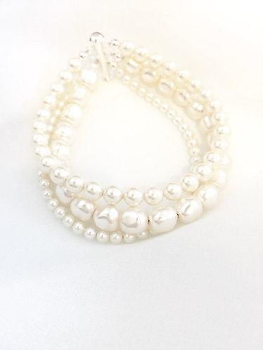 MILLAY: 3 strand Nugget Pearl Bracelet