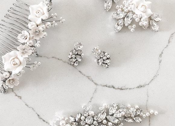 OPHELIA: 2 in 1 Bridal + Swarovski Stud Earring
