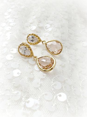 Blush/Peach Glass Drop Earrings- Gold or Silver
