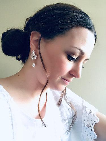 LOUISA: Rose Gold Pearl Bridal Earrings