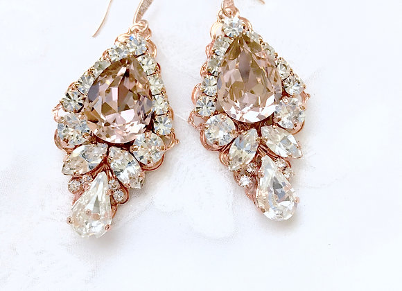 PAIGE: Vintage Rose Swarovski Earrings in Rose Gold