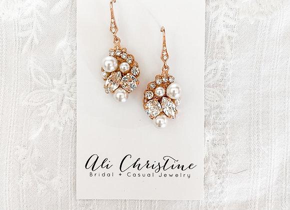 JESSA: Rose Gold Jeweled Earrings