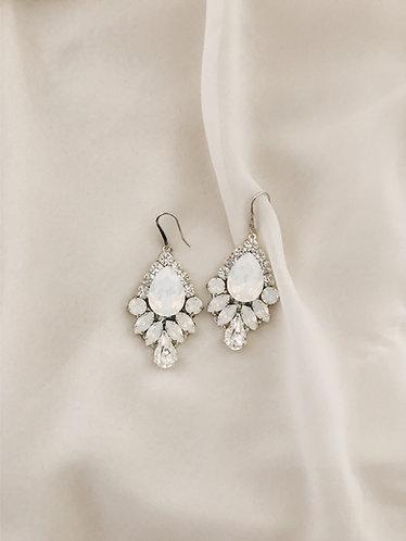 ARIA Earrings in White Opal