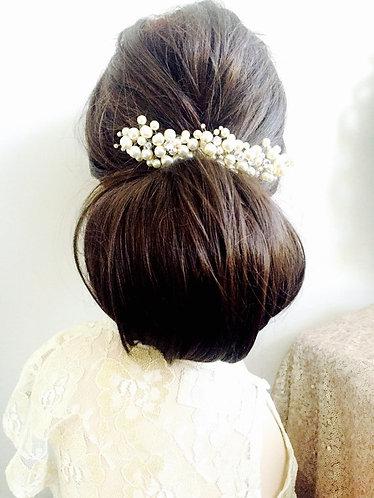 LORA: Full Swarovski Pearl Bridal Hair adornment