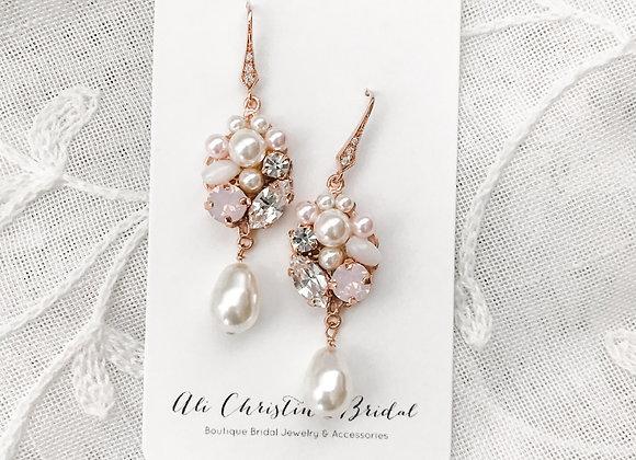 SHAE: BLUSH Bridal Earrings in rose gold
