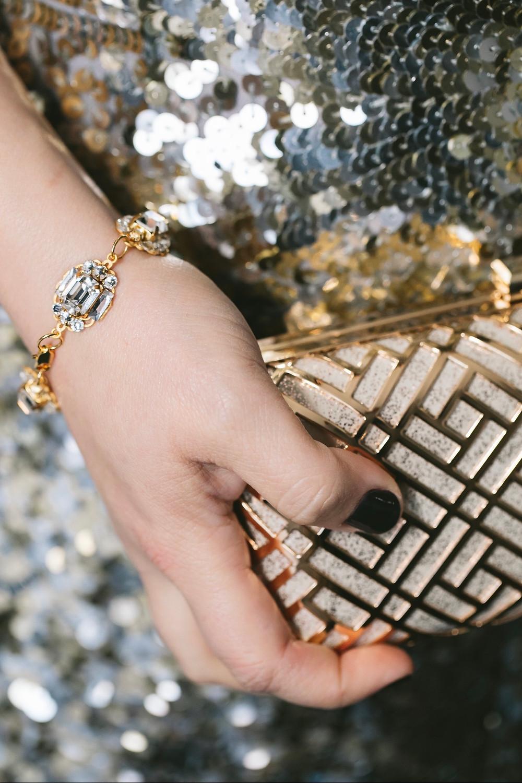 LEXA Art Deco Rhinestone Bracelet in Gold