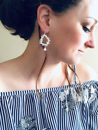 CASSIE: Crystal Hoop Earrings with Alabaster