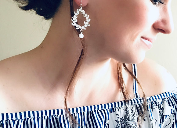 CASSIE: Crystal Hoop Earrings with Alabaster