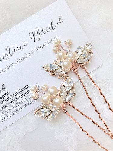 EDEN: Rose Gold Blush Hairpin (sold per pin)