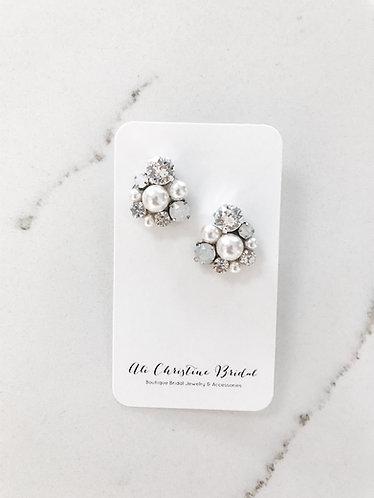 NADIA: Stud Pearl & Rhinestone Bridal Earrings