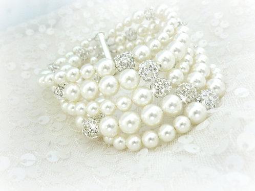 5 Strand Swarovski Pearl Bracelet Cuff
