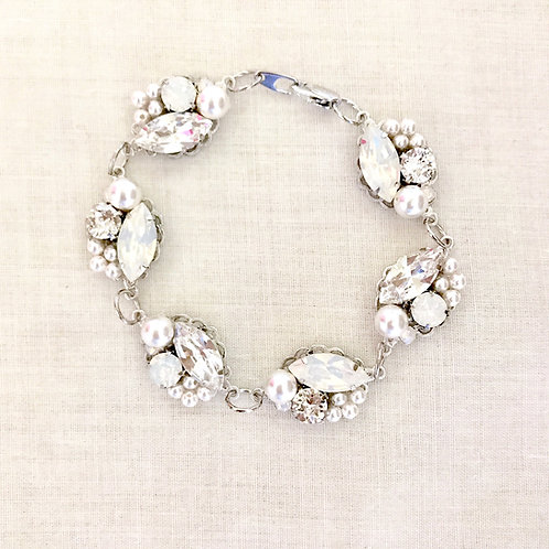 SOPHIA: Pearl and Rhinestone Jeweled Bracelet