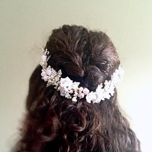 PRIMROSE Comb: Blush Floral Statement Headpiece