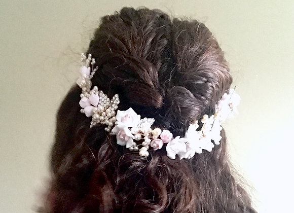 PRIMROSE Comb: Blush Floral Statement Headpiece