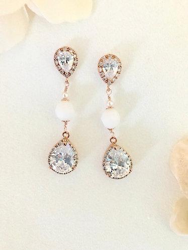 MARIBELLE: Alabaster White CZ Bridal Earrings
