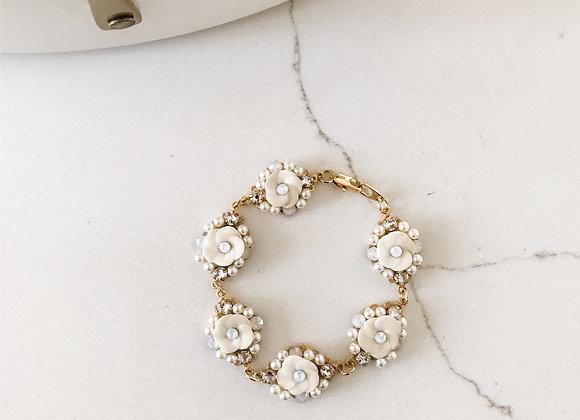 IVORY FLORAL Bracelet in Gold- ONE LEFT