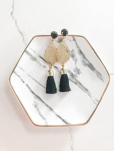 Long Black Grecian Tassel Earrings