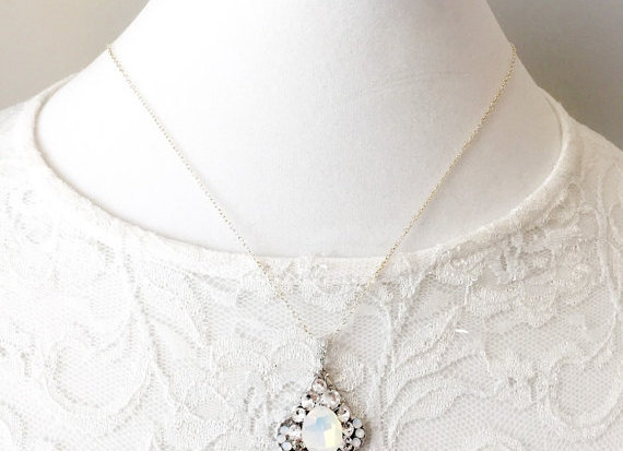 ALLY: Vintage Opal Rhinestone Pendant Necklace