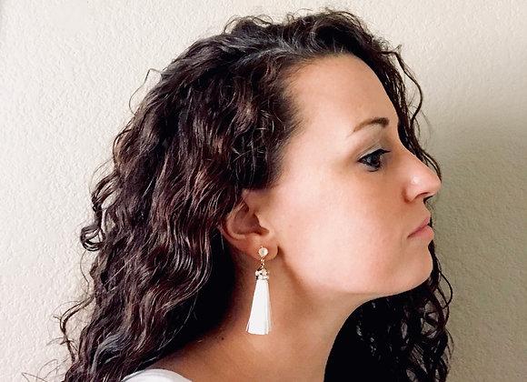 FRINGE: Ivory Cream Bridal Tassel Earrings