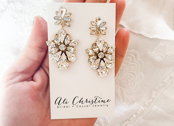 ADA: Luxe Gold Swarovski Bridal Earrings