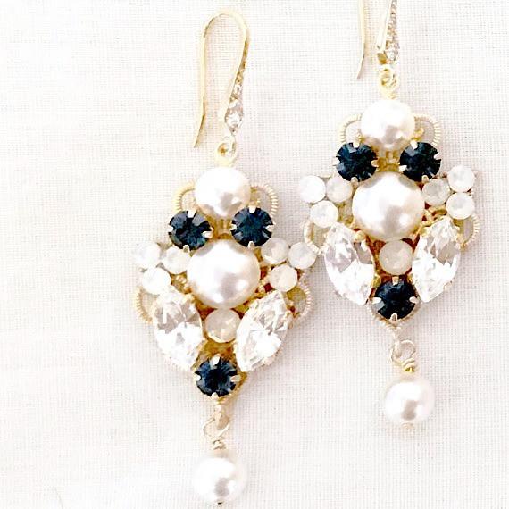 Navy Bridesmaid Earrings ANDREA