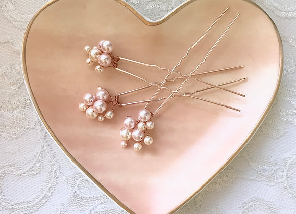 DOREEN: Bubbly Blush Hue Hairpins (set of 3)