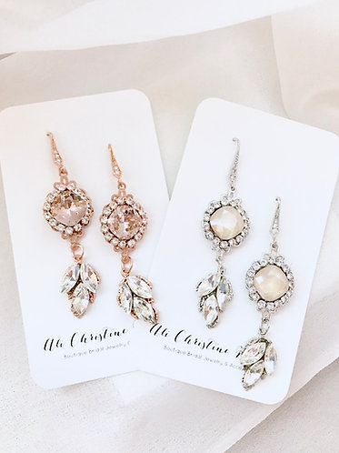 ARLO: Leaf Accented Crystal Nude Rhinestone Earrings