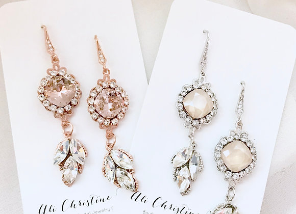 ARLO: Leaf Accented Crystal Nude Rhinestone Earrings