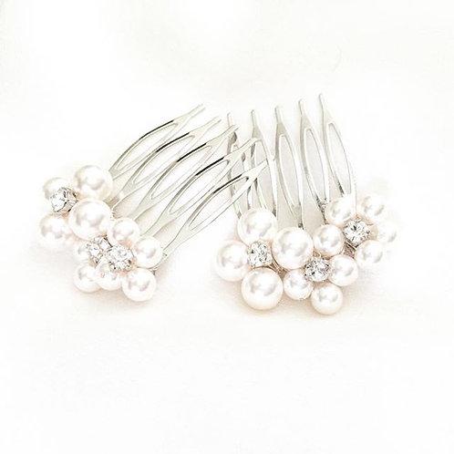 Flower Swarovski Pearl Design Bridal Comb