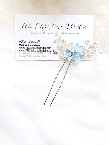 CELESTE: Baby Blue Floral Pin with White Pearl Accent