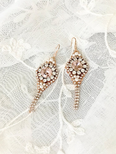 CALLIOPE: Vintage Rose Rhinestone Chain Statement Earrings