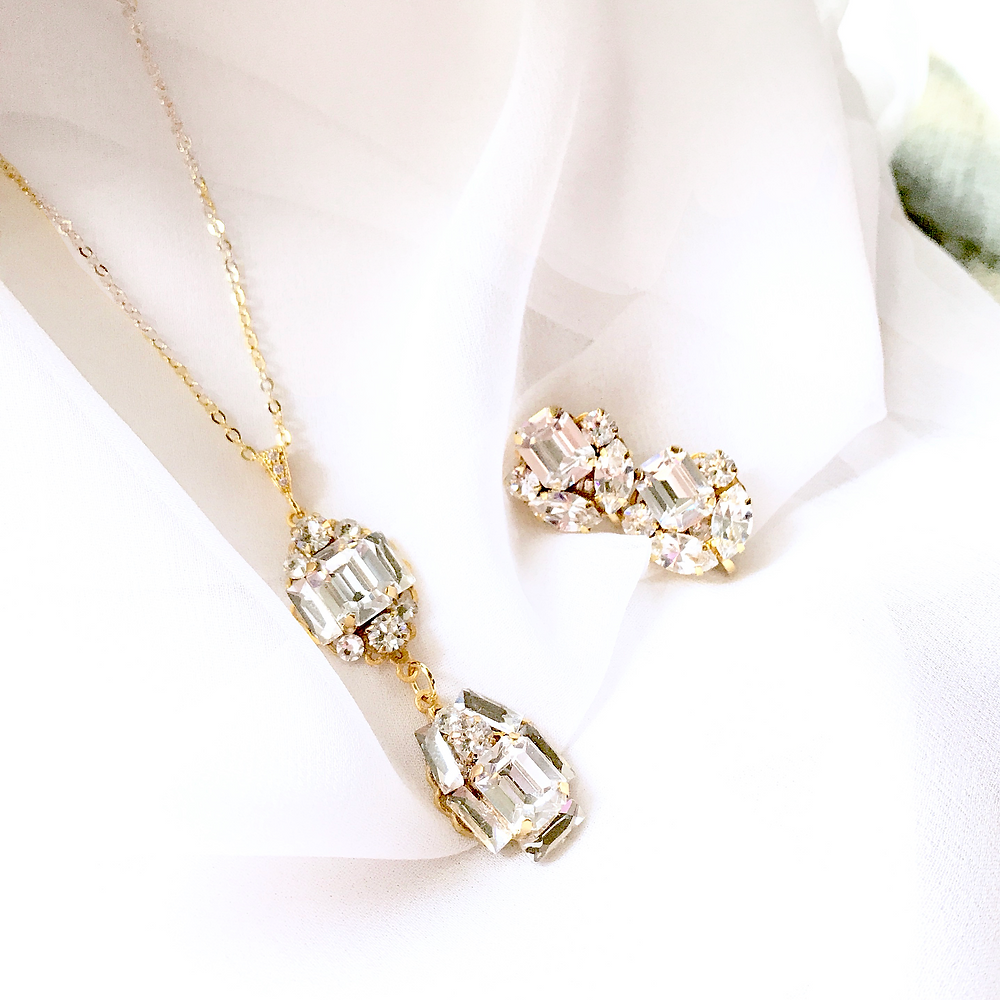 Gold Stud Bridal Earrings