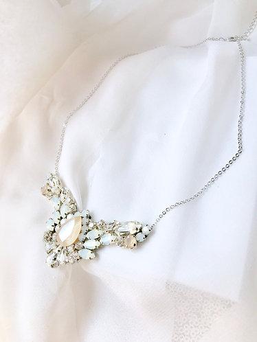 CLARA: Ivory & Opal Rhinestone Necklace