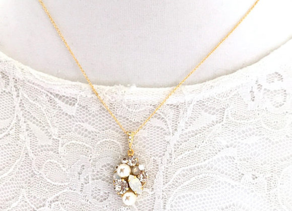 HEAVEN Necklace: Gold Pearl/Rhinestone Cluster Pendant