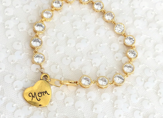 Mom CZ Rhinestone Link Bracelet (Gold or Silver)