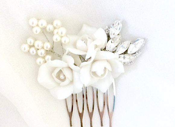 NORA: Bridal Whites Floral Hair Comb