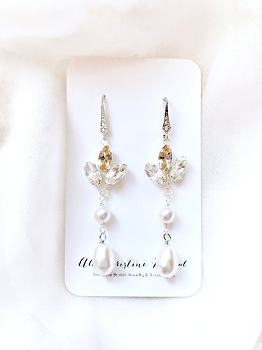KENNA: Long Pearl Drop Champagne Accent Earrings