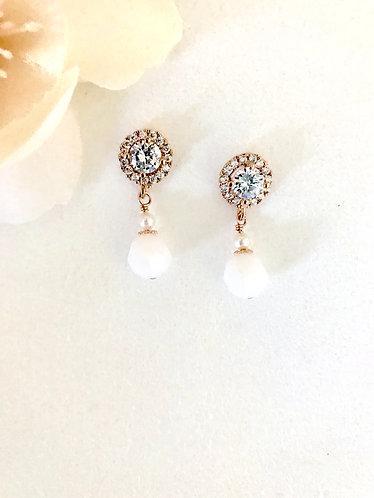 KENZIE: Alabaster White Swarovski Drop Earrings
