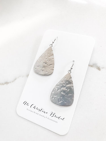 HAMMERED PENDANT Earrings (non tarnish silver)